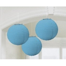 Linternas Colgantes Color Azul Caribe (3 de 20,4 cm)