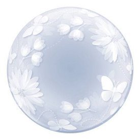 Globo Flores y Mariposas Burbuja BubbleQL-11560 Qualatex
