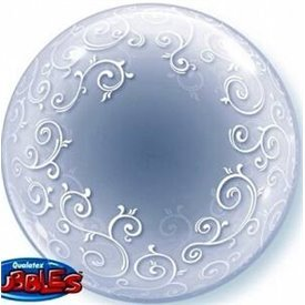 Globo Filigranas Blancas Burbuja BubbleQL-13693 Qualatex