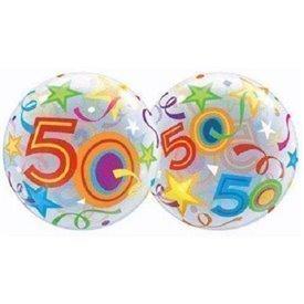 Globo 50 Años Estrellas Brillantes Burbuja BubbleQL-24171 Qualatex