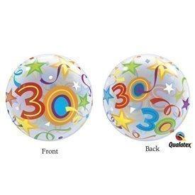 Globo 30 Años Estrellas Brillantes Burbuja BubbleQL-24168 Qualatex