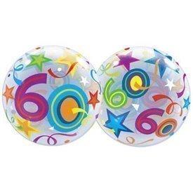 Globo 60 Años Estrellas Brillantes Burbuja BubbleQL-24172 Qualatex