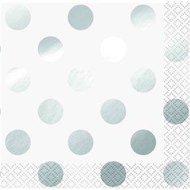Servilletas Puntos Plata Brillo (16)