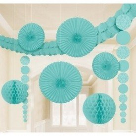 Kit Decoracion Damasco Color Azul Pastel249259 Amscan