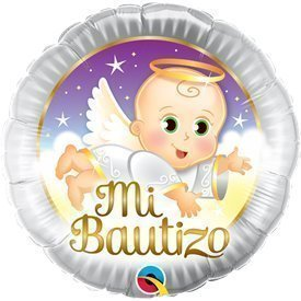 Globo Mi Bautizo Angel Baby 45cmQL-57286 Qualatex