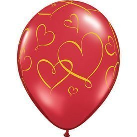 Globos latex con Corazones Dorados (25)QL-40862 Qualatex