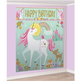 Kit Decoración de Pared + accesorios photocall Unicornio Magico (17 pz)670735 Amscan