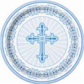 Platos Comunion/Bautizo Azul de 18cm (8)UN-43824 Unique