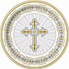 Platos Boda/Comunion/Bautizo Plata y Oro de 23cm (8)