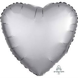 Globo Corazon color satin Plata de 45cm3680601 Anagram