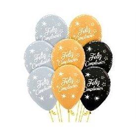 Globos Serigrafiado Feliz Cumpleaños destellos colores dorado/plata/negro (12 ud)R12-CUMPLD Sempertex
