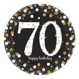 Platos Happy 70 Birthday Prismatic Plata/oro de 23 cm (8) 9901714 Amscan