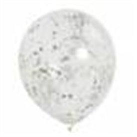 Globos Transparentes con Confetti Plateado (6) UN-58112 Unique