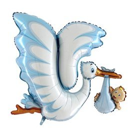 Globo Foil Cigüeña con Bebe Azul de 134cm72086 Grabo