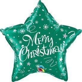 """Globo Foil Estrella """"Merry Christmas"""" Verde de 51cm"""