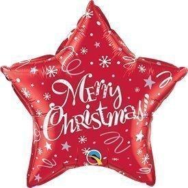 """Globo Foil Estrella """"Merry Christmas"""" Roja de 51cmQL-99806 Qualatex"""