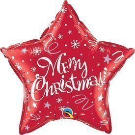 """Globo Foil Estrella """"Merry Christmas"""" Roja de 51cm"""