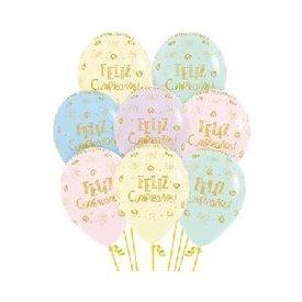 Globos Serigrafiado Feliz cumpleaños rayitos de sol de 30 cm aprox Colores Pastel (12 ud)