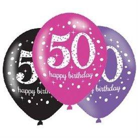 Globos Happy Birtdhay 50 Rosa/Negro/Morado Prismatic (6)
