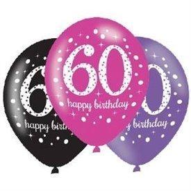 Globos Happy Birtdhay 60 Rosa/Negro/Morado Prismatic (6)