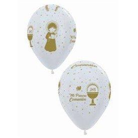 Globos latex Mi 1ª Comunión en satin perla (12)R12-COM-570 Sempertex