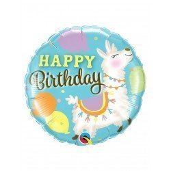 Globo foil Llama Happy Birthday de 45cmQL-85905 Qualatex
