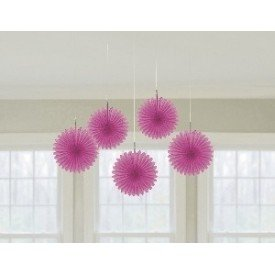 Farolillos Abanico color Rosa (5 de 15,2 cm)29055-103 Amscan