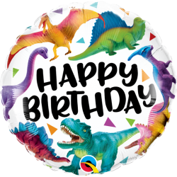 Globo foil Happy Birthday Dinosaurios de 46cm