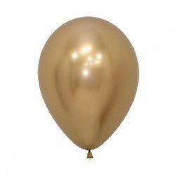 Globos látex Reflex Dorado de 30cm (12 ud)