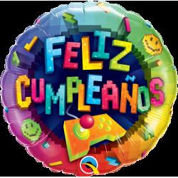 Globo Videojuego Feliz Cumpleaños de 45cm