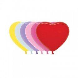 Globos de látex formas corazón Colores Surtidos Solidos de aprox. 15cm(50 ud)