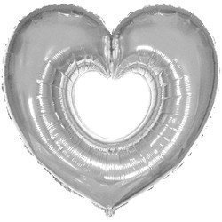 Globo Corazón Plata hueco de 69cm x 80cm aprox