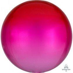 Globo Orbz fusion Rojo y rosa metalizado de 40cm