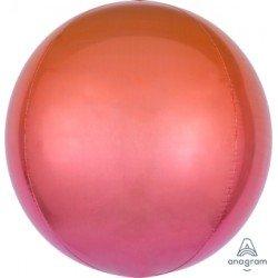 Globo Orbz fusion rojo y naranja metalizado de 40cm