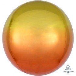 Globo Orbz fusion Amarillo y naranja metalizado de 40cm
