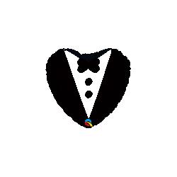 Globo corazon Traje de Novio con Pajarita de 45 cm aprox