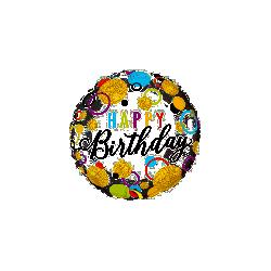 Globo Happy Birthday oro , Blanco y colores de 45 cm