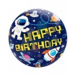 Globo Happy Birthday Espacio Burbuja de 55 cm aprox.QL-13079 Qualatex
