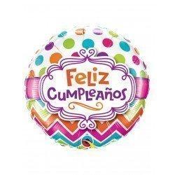 Globo Feliz cumpleaños Chevron Elegante de 45 cm