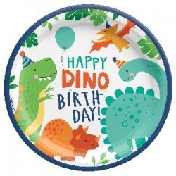 PLATOS 23cm HAPPY DINO BDAY (8) (BP)552270 Amscan