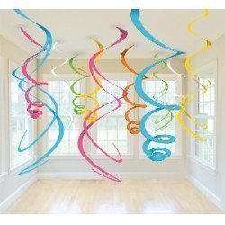 Decoracion Colgantes Espirales de Colores tonos Suaves (12 de 55,8 cm)