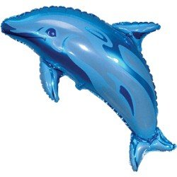 Globo forma Delfin Azul de 95 cm aprox