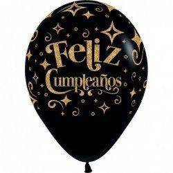 Globos Serigrafiado Feliz Cumpleaños dorado Brillante Globo Negro (12ud)