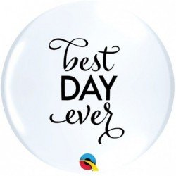 11 pulg. (27,9cm) Rnd White 50Ct Simply Best Day Ever Topprint (BP)