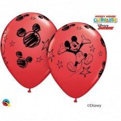 Globos látex de Mickey Mouse classic Rojo (6ud)