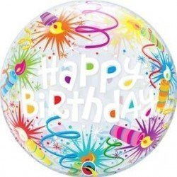 22 pulg. (55,8cm) Single Bubble 01Ct Bday Lit Candles (BP)QL-16658 Qualatex