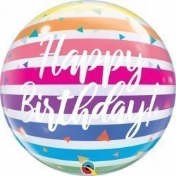 22 pulg. (55,8cm) Single Bubble 01Ct Bday Bright Rainbow Stripes (BP)QL-13037 Qualatex