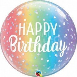 Globo Burbuja Happy Birthday arcoiris y puntos de 55 cm aproxQL-13232 Qualatex