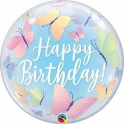 22 pulg. (55,8cm) Single Bubble 01Ct Bday Soft Butterflies (BP)QL-13086 Qualatex
