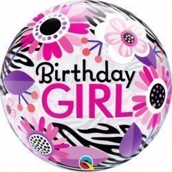 22 pulg. (55,8cm) Single Bubble 01Ct Bday Girl Floral Zebra Stripes (BP)QL-13738 Qualatex